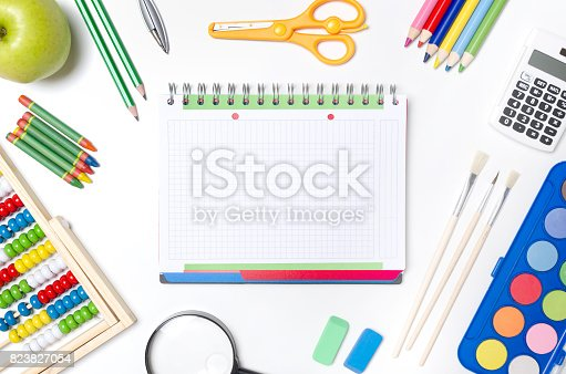 istock Back to school supplies composition 823827054