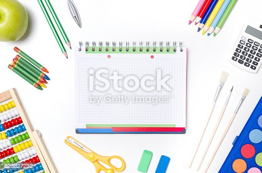 istock Back to school supplies composition 823827232