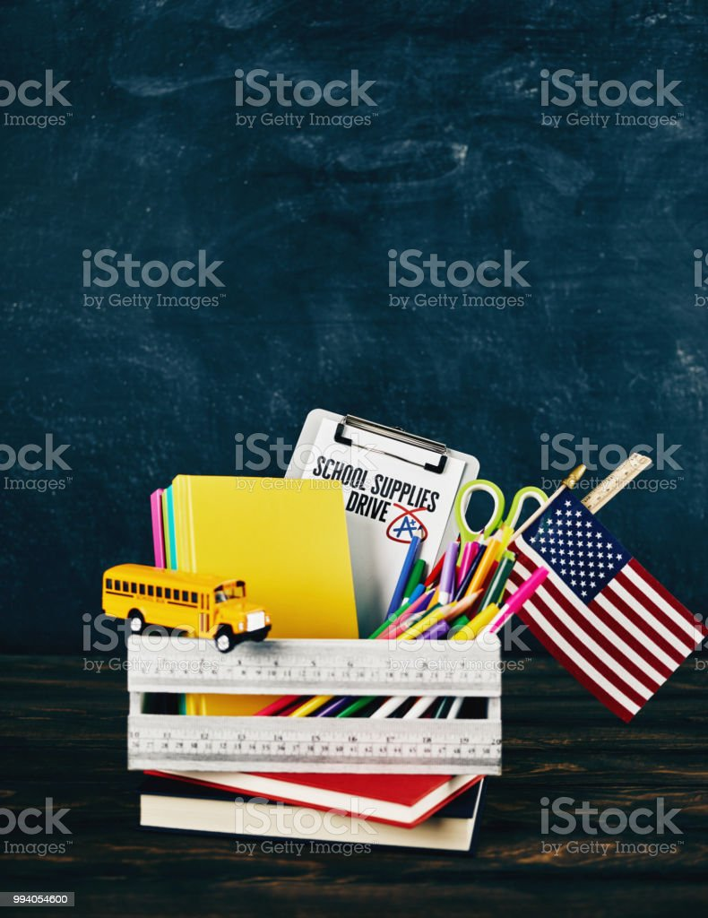 Back to school supplies drive stock photo