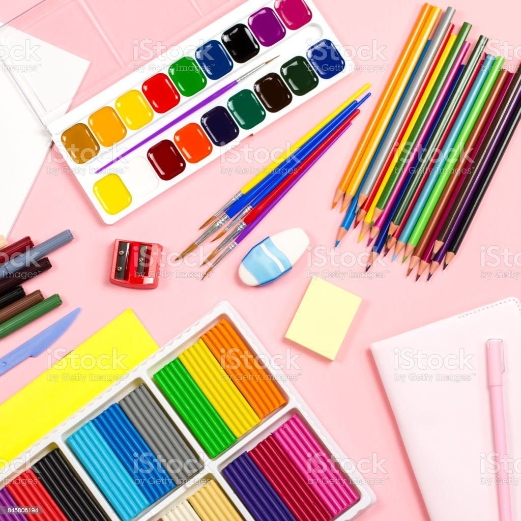 Back to school supplies flat lay, copy space stock photo
