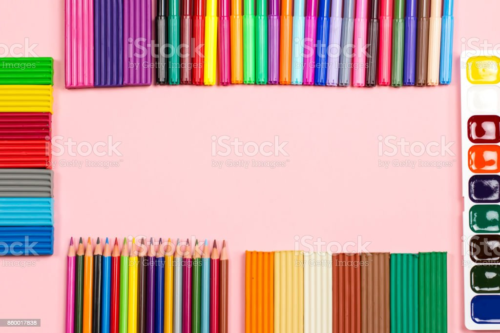Back to school supplies frame, copy space stock photo