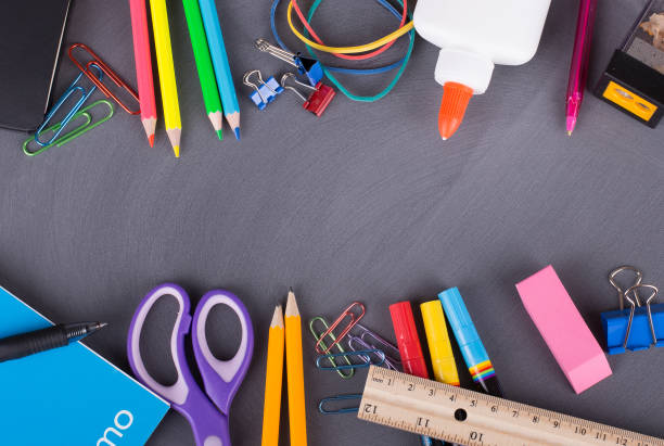 back to school supplies - school supplies stock pictures, royalty-free photos & images