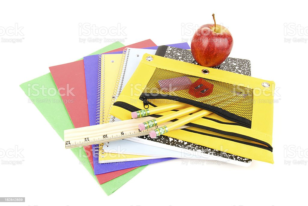 Back to School Supplies White Background royalty-free stock photo