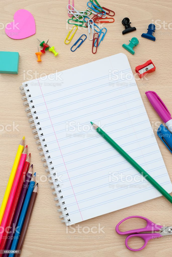Back to school supplies with accessories royalty-free stock photo