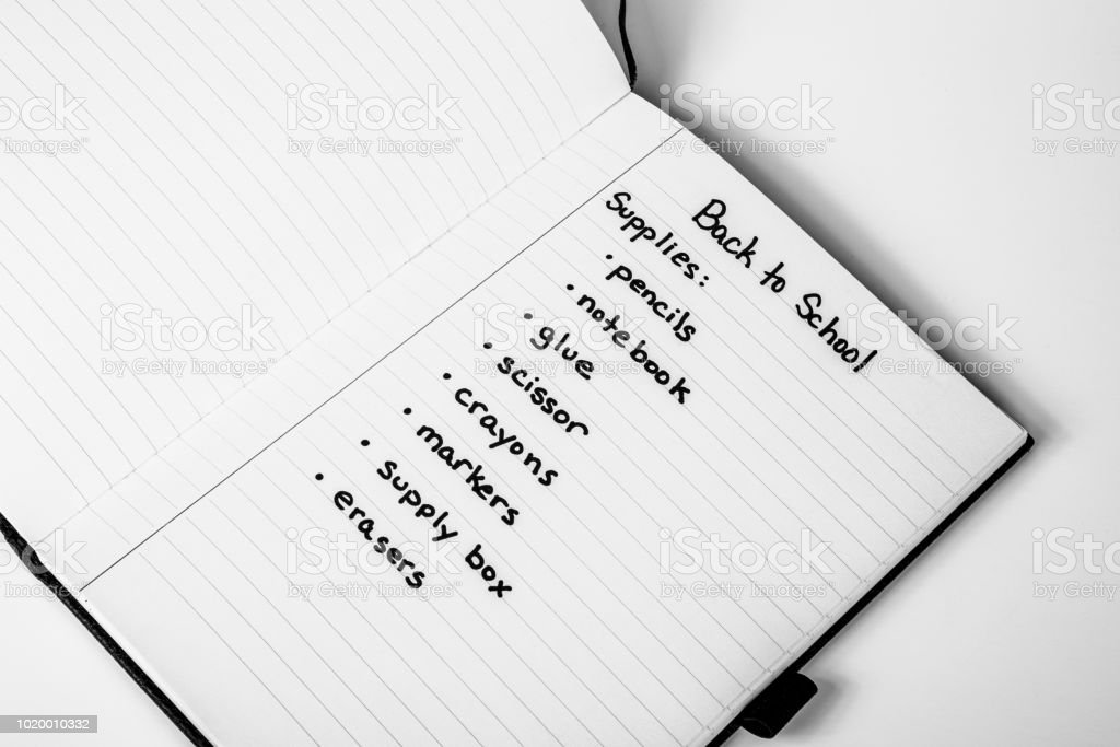 Back to School Supply List stock photo