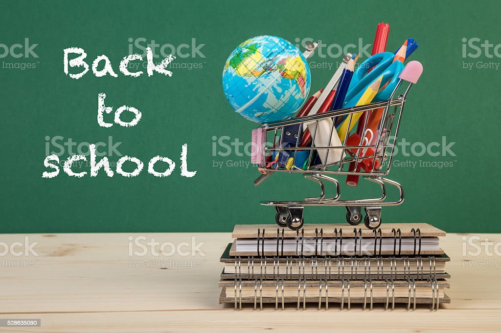 back to school template with multiple stationery in trolley stock photo