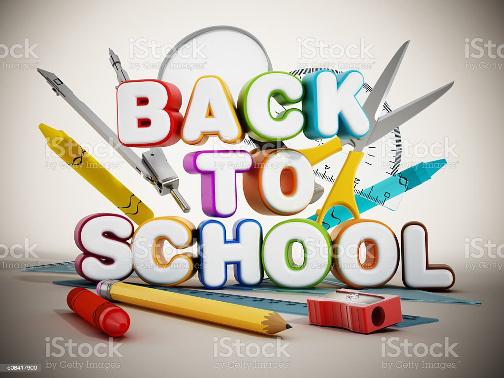 Back to school text and school equipment stock photo