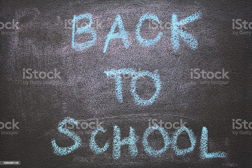 back to school text on chalkboard background royalty-free stock photo