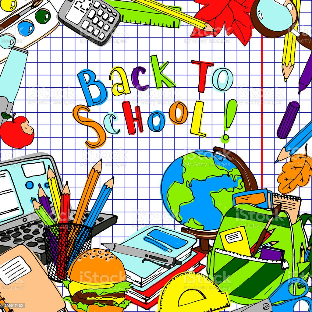 Back to school vector illustration. Colorful background stock photo