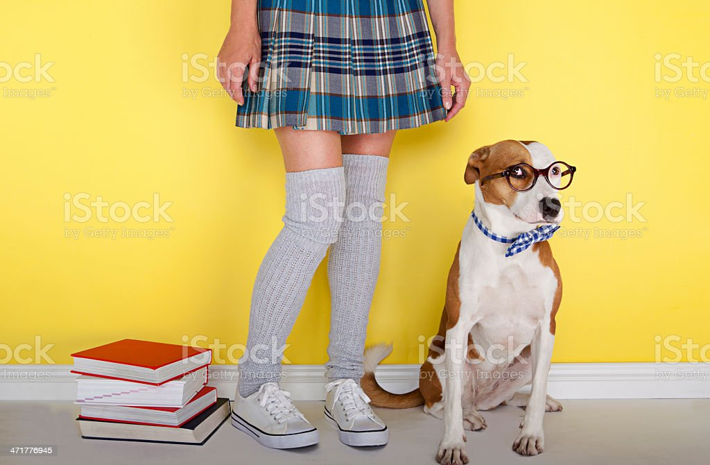 back to school with my best friend stock photo