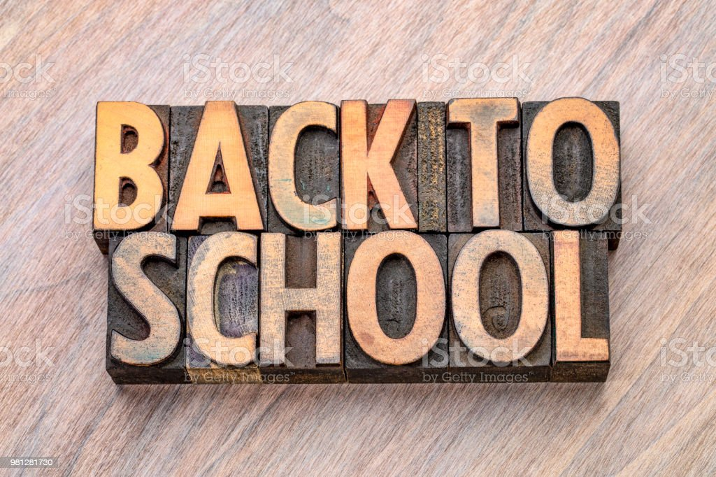 back to school word abstract in vintage wood type stock photo