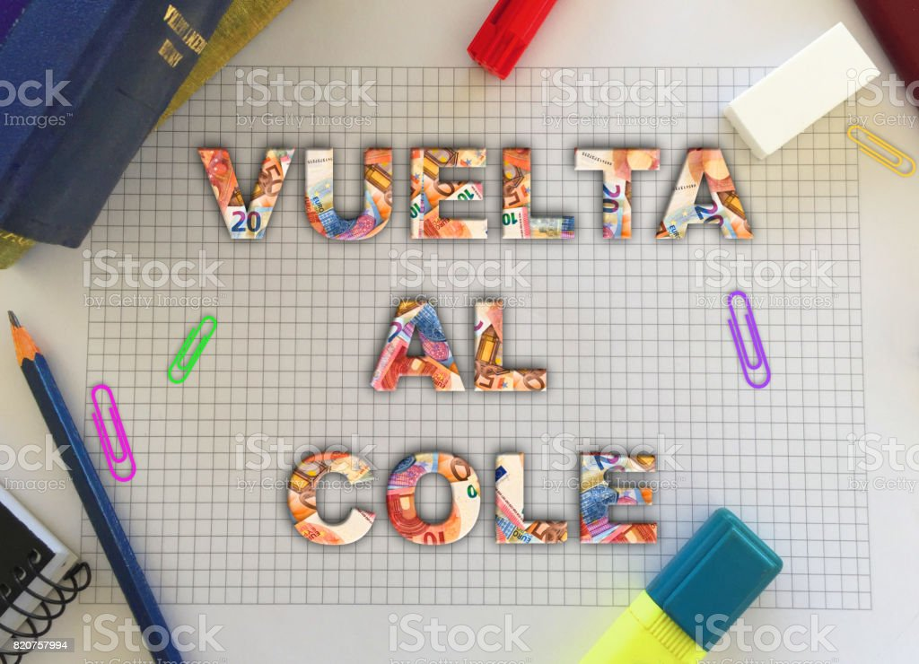 Back to school words in Spanish with euro currency and school supplies. stock photo