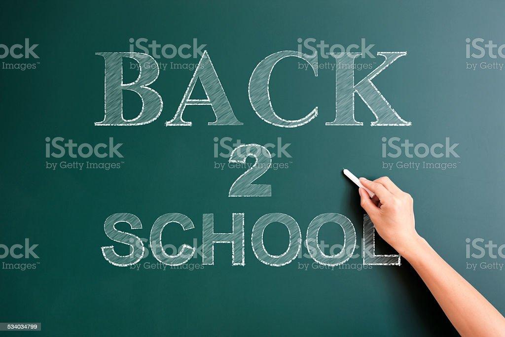 back to school written on blackboard stock photo