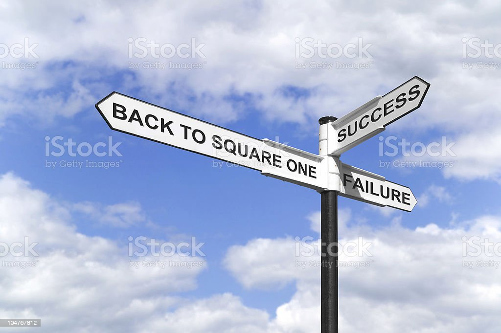 Back to Square One signpost Concept image of a signpost with Back to Square One, Success and Failure against a blue cloudy sky. Abstract Stock Photo