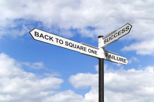 Back To Square One Signpost Stock Photo - Download Image Now