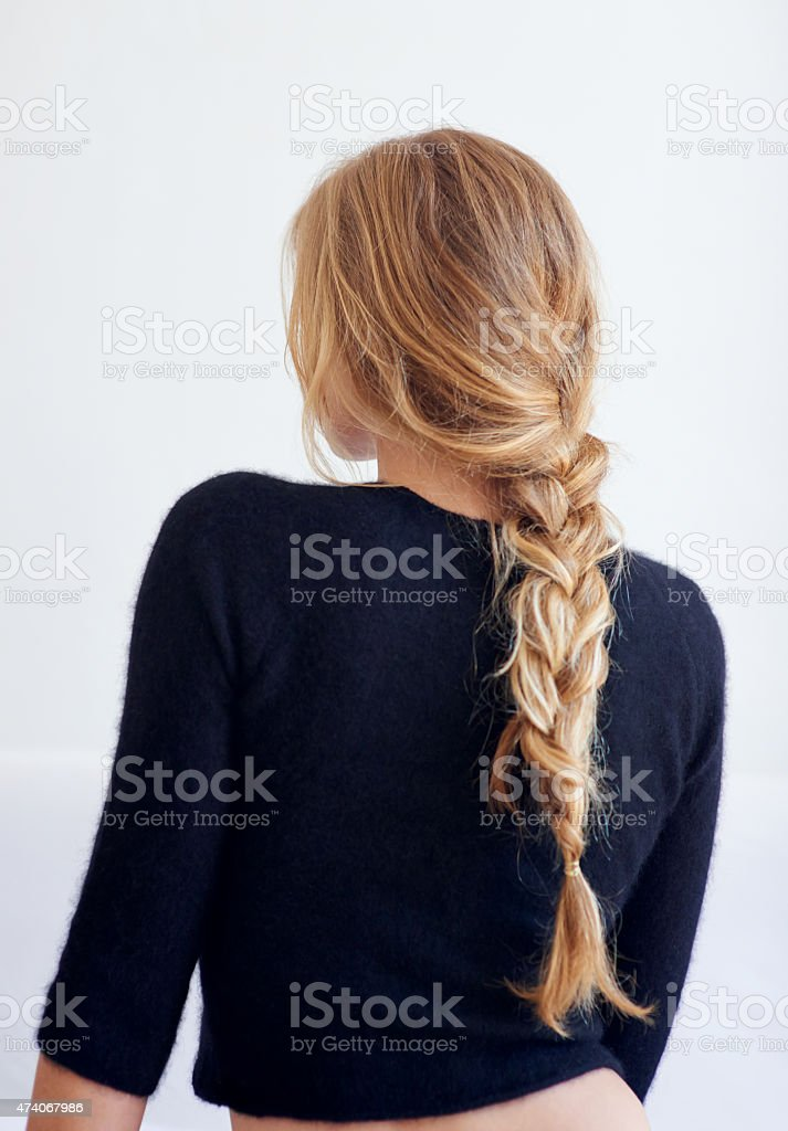 Back to the basics Rearview shot of woman with a plaited hairstylehttp://195.154.178.81/DATA/i_collage/pu/shoots/804598.jpg 20-29 Years Stock Photo