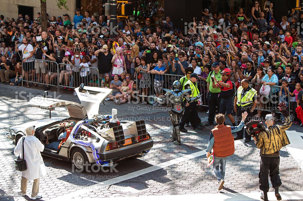 Back To The Future Characters Participate In Dragon Con Parade stock photo