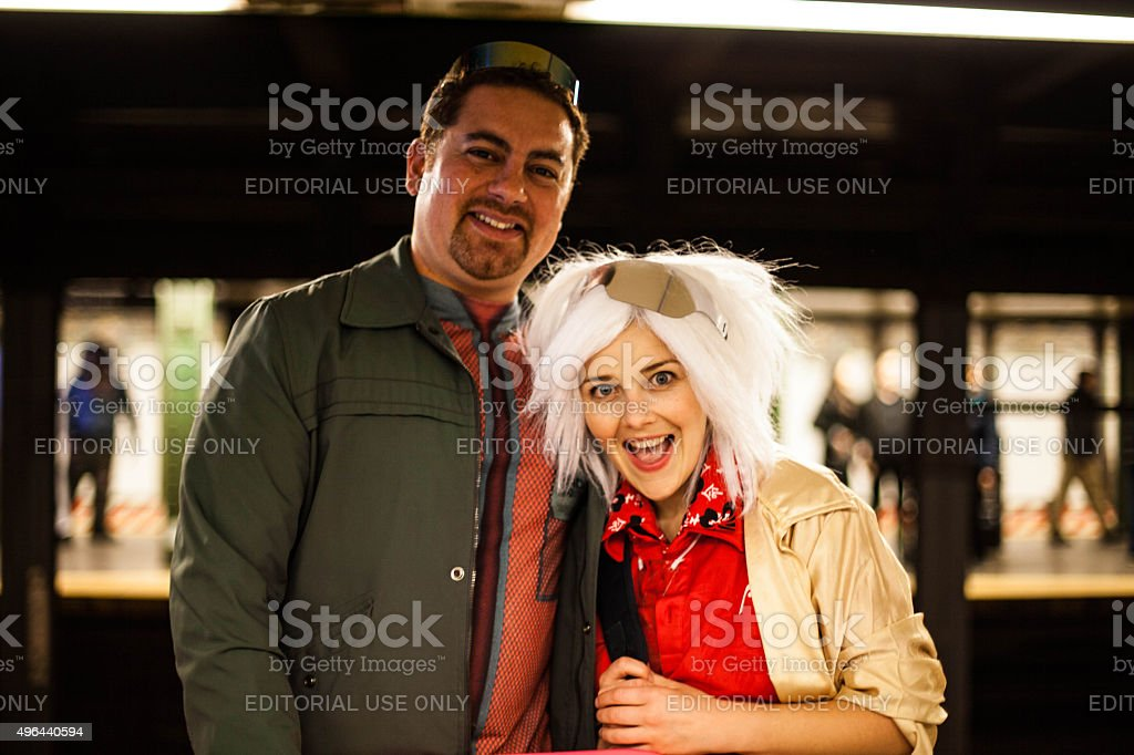 Back to the Future Cosplay on Halloween night. stock photo
