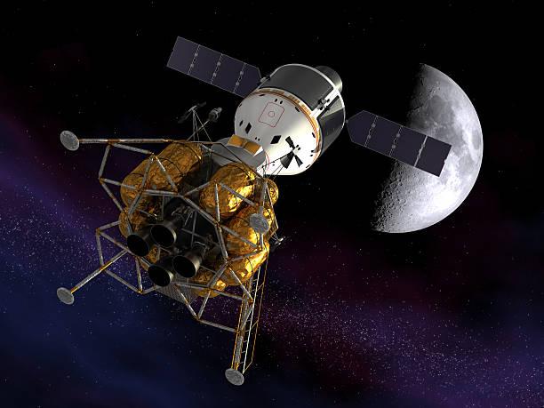 zurück zum moon - mondlandefähre stock-fotos und bilder