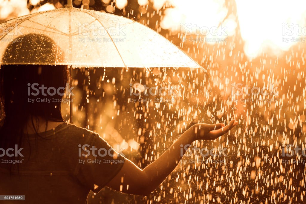 Back veiw of woman  with umbrella in the rain and sunlight stock photo