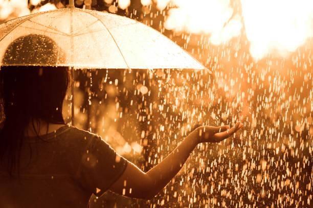 zurück veiw frau mit regenschirm im regen und sonnenlicht - sonnendusche stock-fotos und bilder