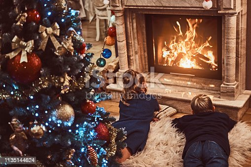 865399512 istock photo Back view, brother and sister warming next to a fireplace in a living room decorated for Christmas. 1135144624