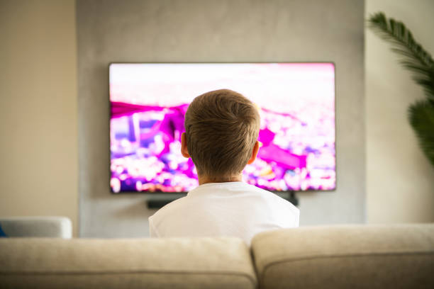 Back view image of cute boy sitting on sofa and watching TV. stock photo