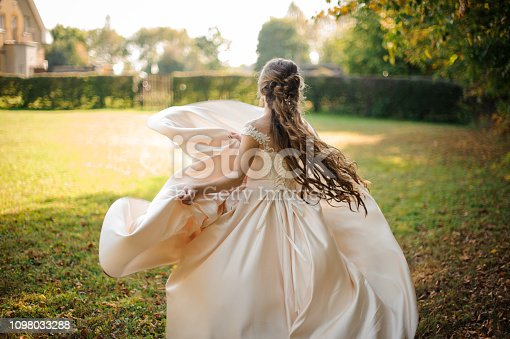 Back view of a beautiful bride spinning in a wedding dress dancing on the green field on sunny day