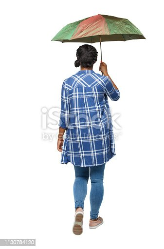 istock back view of a dark-skinned girl in a shirt walking under an umb 1130784120