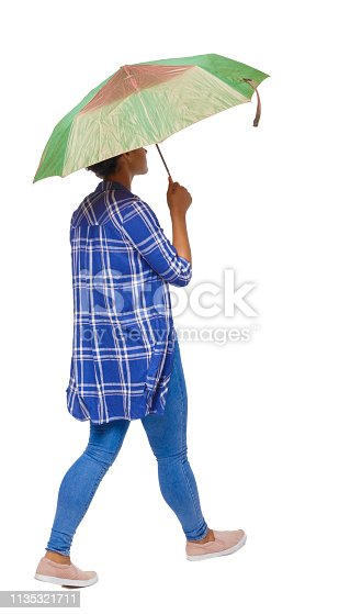 istock back view of a dark-skinned girl in a shirt walking under an umbrella. 1135321711