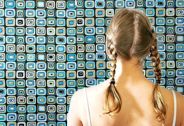 back view  of a girl with pigrtails - pigtails stock photos and pictures