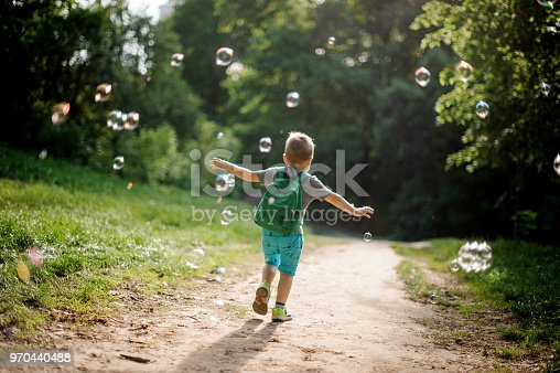 istock Back view of a little boy playing with soap bubbles in summer park on sunny day 970440488