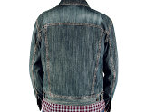 Back view of a man wearing a denim jacket on white