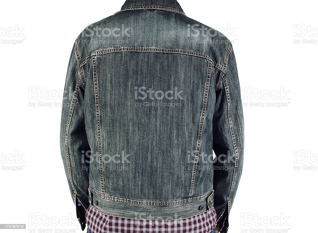 Back view of a man wearing a denim jacket on white stock photo