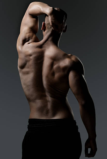 Back view of a muscled black male stock photo