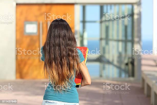 Back view of a teen girl walking towards the school picture id511437649?b=1&k=6&m=511437649&s=612x612&h=dqudyuz3pqy6obtf3ucpkczwbjdfxhijgjdfkumzqk4=