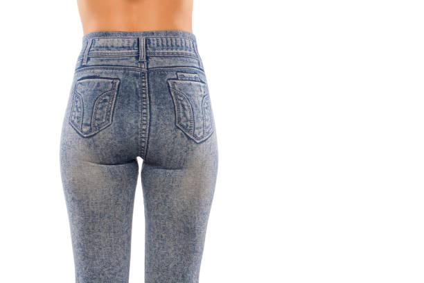 rückansicht einer frau in leggings mit jeans print - druck strumpfhosen stock-fotos und bilder