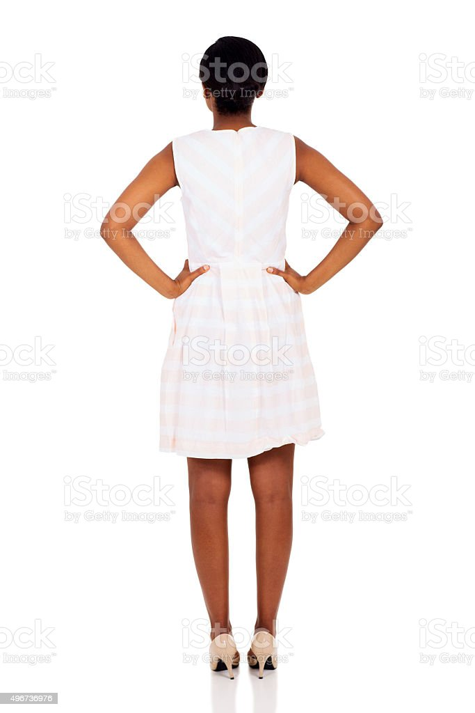 back view of african woman stock photo