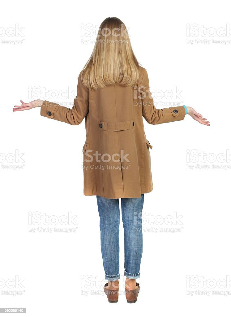 Back view of angry young woman stock photo