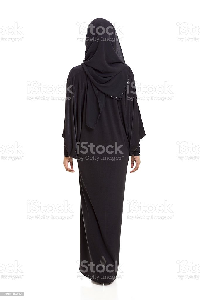 back view of arabian woman stock photo