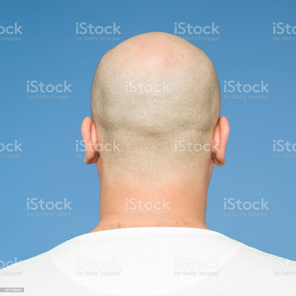 Back view of bald head stock photo