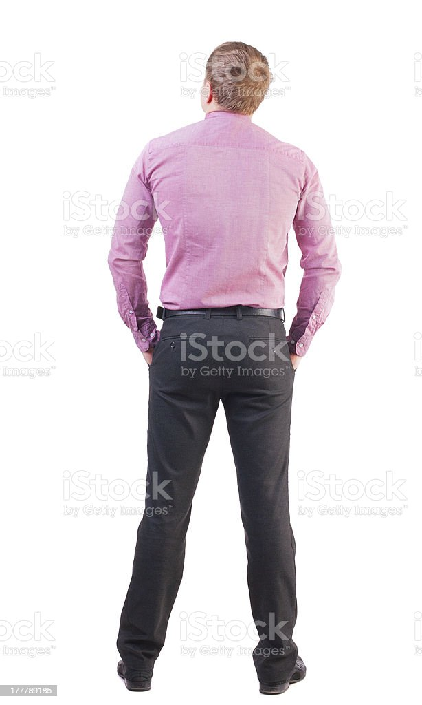 back view of business man  in red shirt looks ahead royalty-free stock photo