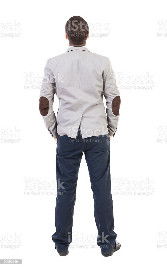 back view of Business man  looks. stock photo