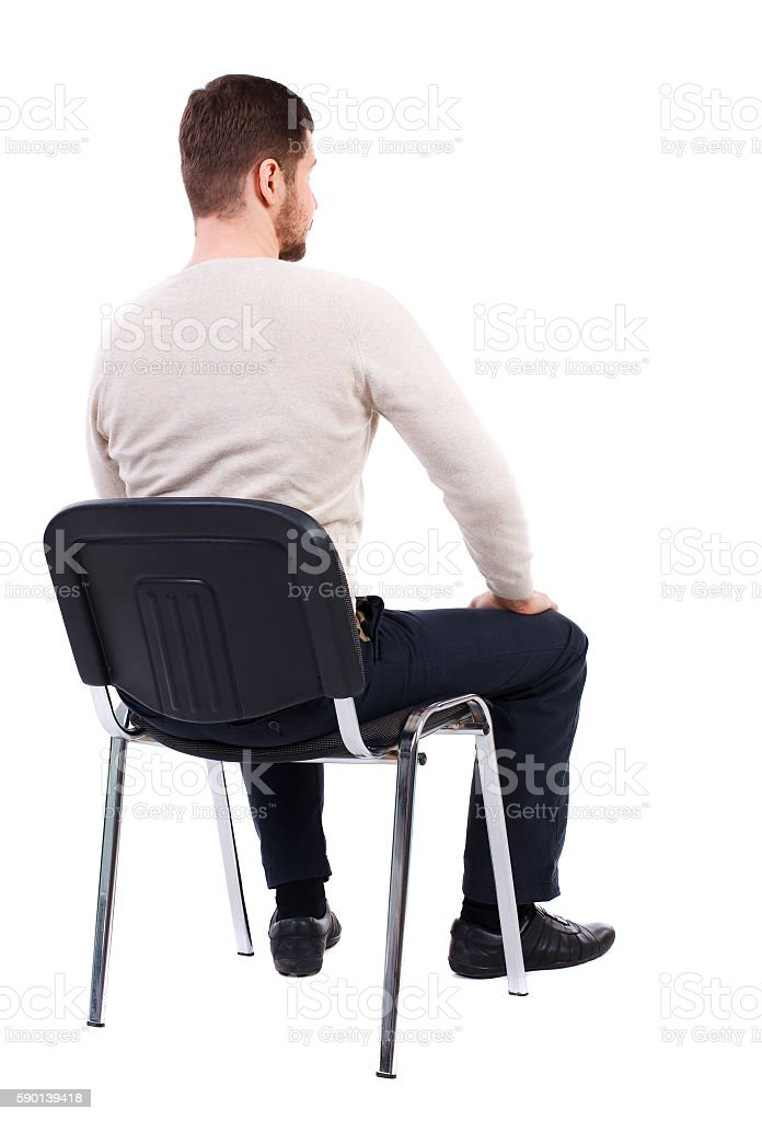 Back View Of Business Man Sitting On Chair Stock Photo ...