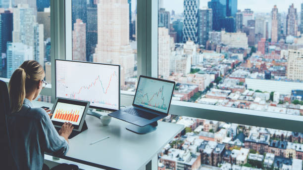 Back view of business woman sitting at panoramic skyscraper office desktop front PC computer with financial graphs and statistics on monitor.Analysis of digital market and investment in block chain stock photo