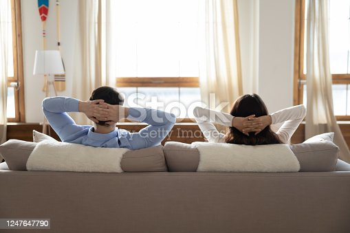 938682762 istock photo Back view of couple relax on design couch at home 1247647790
