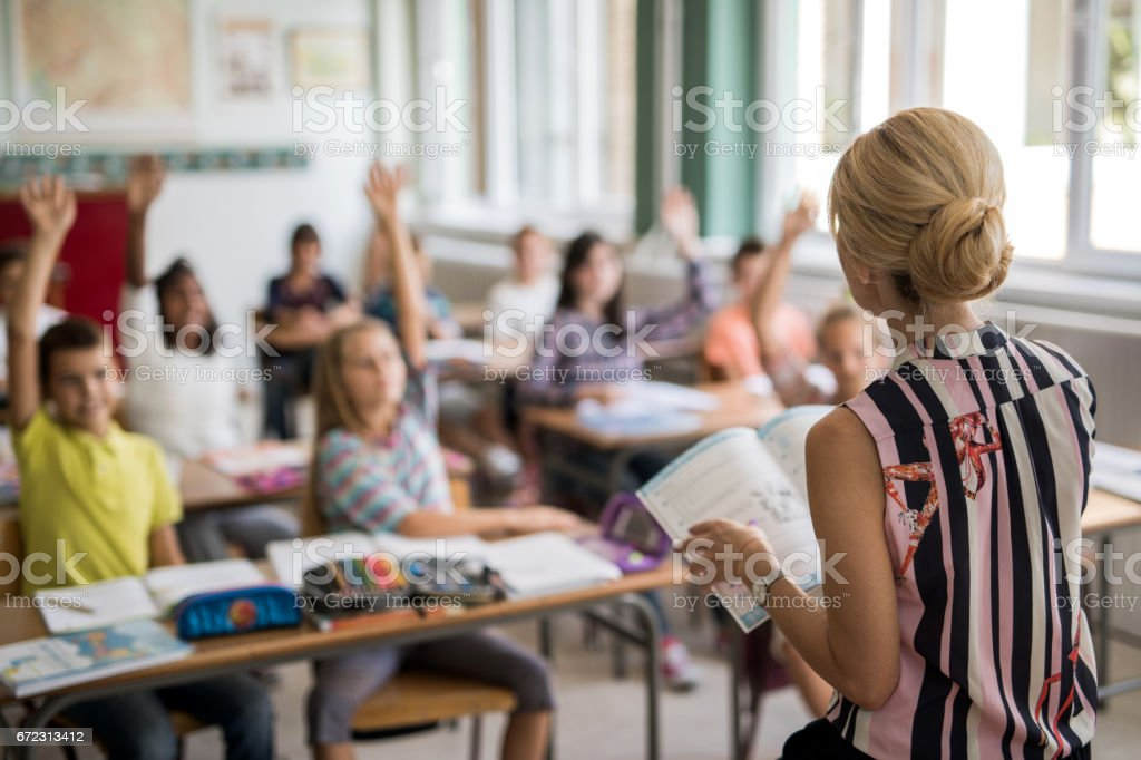 Back view of elementary school teacher giving a lecture. stock photo