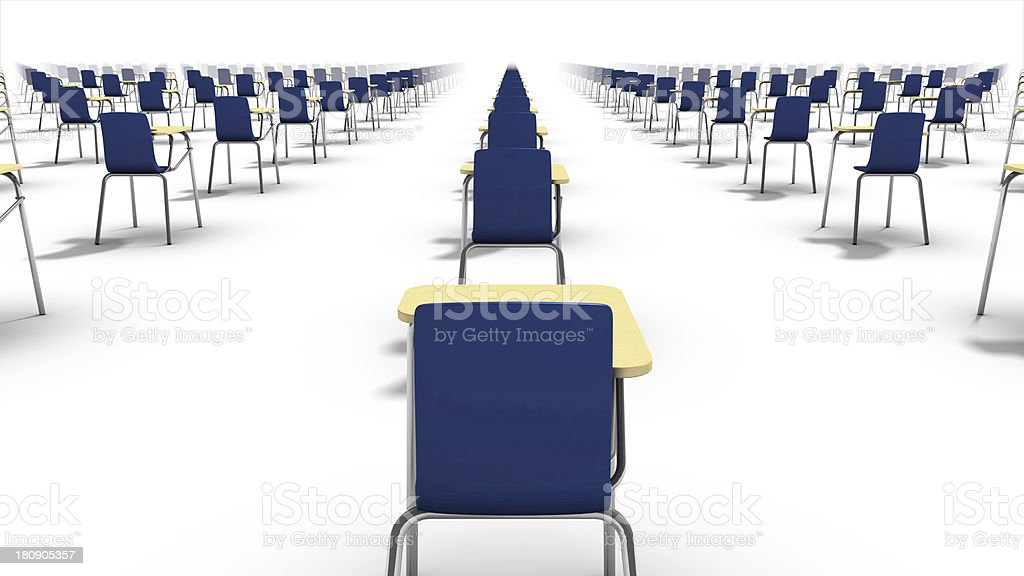 Back view of endless school chairs. stock photo