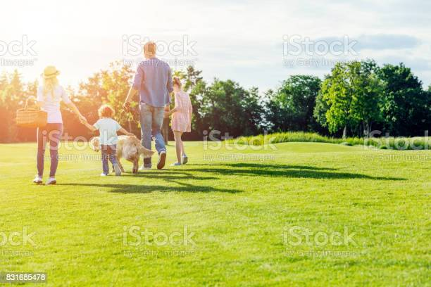 Back view of family with pet walking on green meadow in park picture id831685478?b=1&k=6&m=831685478&s=612x612&h=itat8eoidoyqwlzuhjttf dmhn3dsgz amgynaprs34=