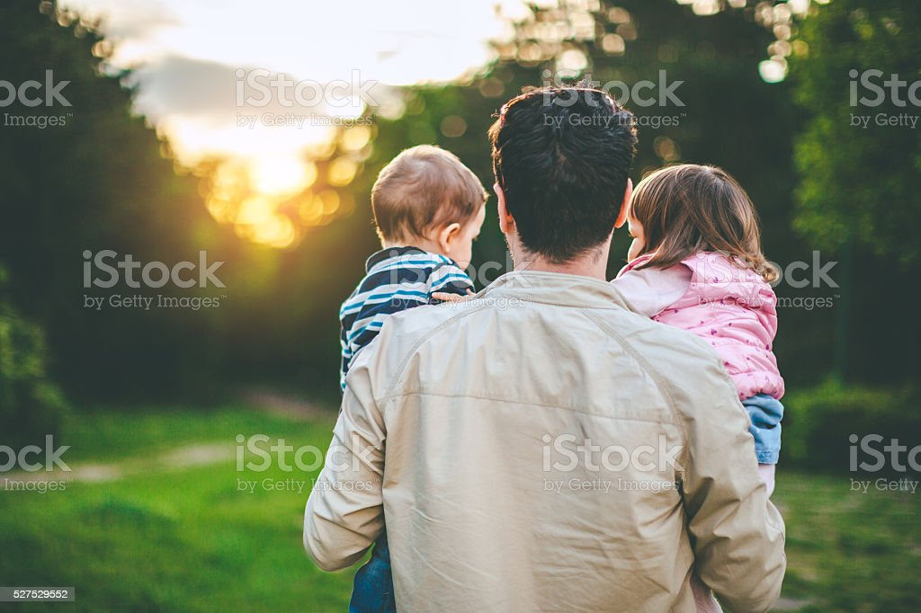 back view of father carrying two toddlers stock photo